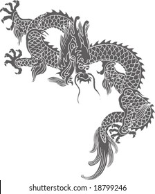 Vector of Ancient Chinese Traditional Dragon Pattern