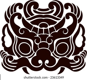 Vector of Ancient Chinese Traditional Monster lion head Pattern