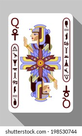 Vector ancient Egyptian symbols, decorations and playing card on a grey background.