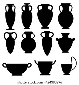 Vector ancient greek vases set. Amphora, kyathos, skiathos, pelike. The symbols of antiquity and Greece. Amphora flat icon isolated on white background