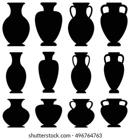 Vector ancient greek vases set. Amphora flat icon isolated on white background. Black urns collection.