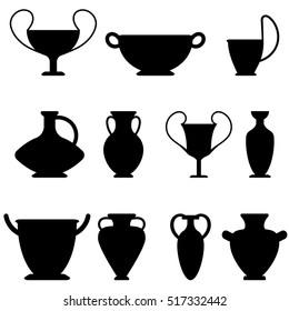Vector ancient greek vases set. Amphora, kyathos, skiathos, pelike, pithos, lekythos, kantharos, kylix, laginos. Symbols of antiquity and Greece. Amphora black flat icon isolated on white background
