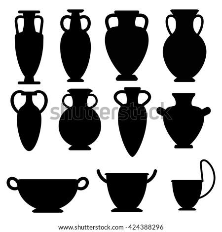 Vector Ancient Greek Vases Set Amphora Stock Vector Royalty Free