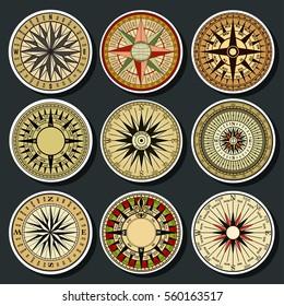 Vector Ancient Mariner's Compass Set