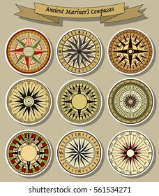Vector Ancient Mariner's Compasses Set Retro Stickers Collection