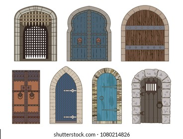 Vector Ancient Medieval Castle Gates and Doors Collection
