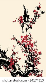 Vector of Ancient Traditional Artistic plum blossom Pattern