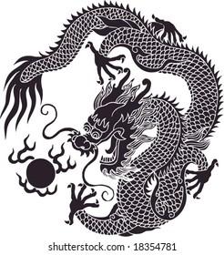 Vector of Ancient Traditional Chinese Artistic Dragon Pattern