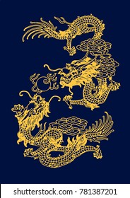 Vector of Ancient Traditional Chinese Artistic Dragon Pattern with flames ball