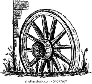 vector - ancient wagon wheel stands in front of walls