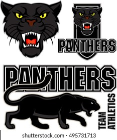 vector angry black panther face sport emblem