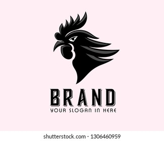 vector Angry black rooster head logo design inspiration