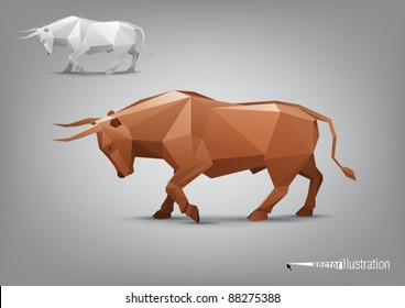 Vector angry bull stylized triangle polygonal model