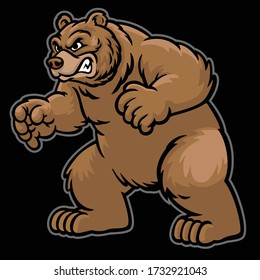 vector of angry cartoon grizzly bear
