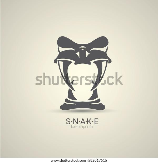 vector angry dangerous snake logo design template. danger snake icon. viper black silhouette isolated on grey