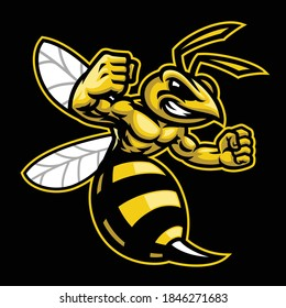 vector of angry hornet wasp mascot