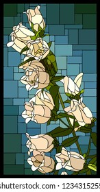 Vector angular mosaic with blooming white campanula with buds stained-glass window frame.