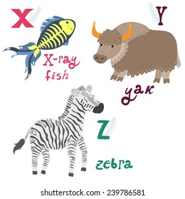 Vector animal alphabet with cute cartoon characters: x-ray fish, yak, zebra. Letters X-Z.