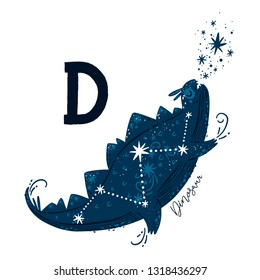 Vector Animal alphabet Letter D Printable art Educational card for kids with space dinosaur, stars and constellation