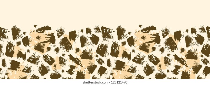 Vector animal brush stroke horizontal seamless pattern background border with hand drawn elements