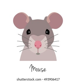 Vector Animal of Chinese zodiac symbol.  flat cartoon rat head,  grey mouse face isolated. Chinese year symbol, poster, banner, print, advertisement, web design element.
