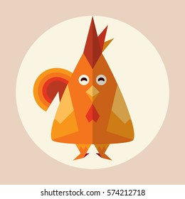 Vector animal in flat style. Red rooster, chicken with funny emotion eyes. Abstract element for design, simple geometric form. Cartoon bird with shadow. Red, orange color illustration, icon art