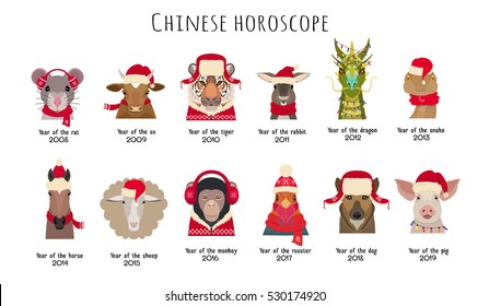 Vector animal Heads in red caps and scarfs of the Chinese horoscope isolated. Vector cartoon,flat. Mouse cow, horse, tiger, dragon, sheep, rooster, monkey, dog,pig, rabbit,snake. Design element object