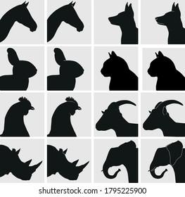 Vector animal heads silhouette horse dog rabbit cat chicken goat rhino elephant