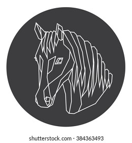 Vector animal horse head drawn in line or triangle style, suitable for modern tattoo templates, icons or logo elements