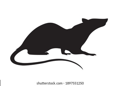 Vector animal illustration of rat, simple black rodent silhouette isolated on white background.