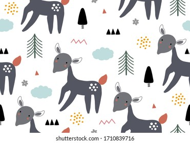 Vector animal pattern with deer, seamless baby background