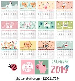 Vector animal planner calendar 2019
