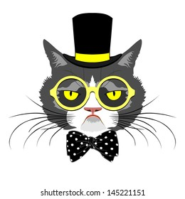 vector animal, portrait of cat in tall hat with polka dot bow and round yellow glasses, vintage look, cat dressed in retro style