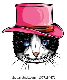 vector animal, portrait of cat in tall hat