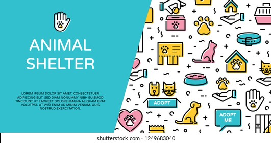 Vector animal shelter icon banner template. Dog and cat help sign and symbol set. Linear pictogram web poster of pet care, adoption, donation. Flyer illustration background with place for text
