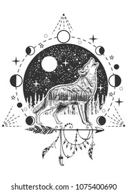 Vector animal tattoo or t-shirt print design. Howling wolf combined with nature, moon phases, geometric pattern and boho elements.