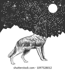 Vector animal tattoo or t-shirt print design. Howling wolf with polygonal head and nature combined with moonlit night sky.