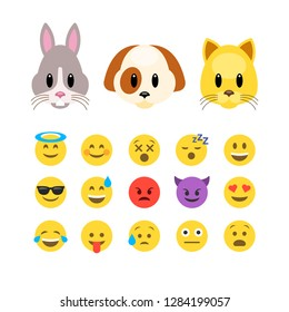 Vector animals emoji emoticons. Dog and cat animoji characters, flat design vector illustration. Puppy Kitten icon set. Funny style face emotions.