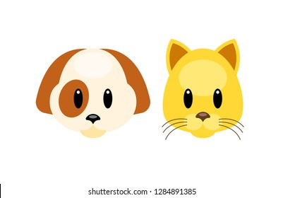 Vector animals emoji emoticons. Dog and cat animoji characters, flat design vector illustration. Puppy Kitten icon set.