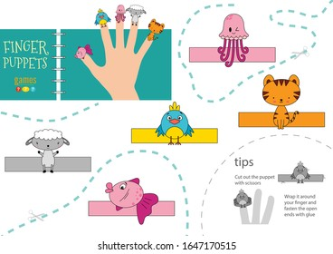 Vector animals as finger puppets. Cut and glue activity for preschool kids. Cute paper jellyfish, tiger, sheep