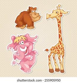 Vector animals sticker style.