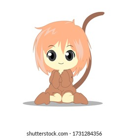 vector anime cute costumed monkey template