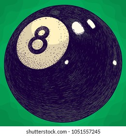 Vector antique engraving illustration of billiards eight ball in retro style