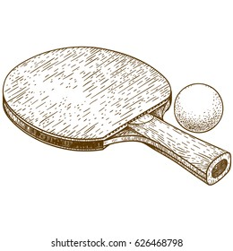 Vector antique engraving illustration of ping pong table tennis racket and ball isolated on white background