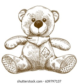 Vector antique engraving illustration of teddy bear toy isolated on white background