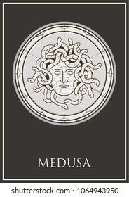 Vector Antique Goddess Medusa Face Stone Bas Relief
