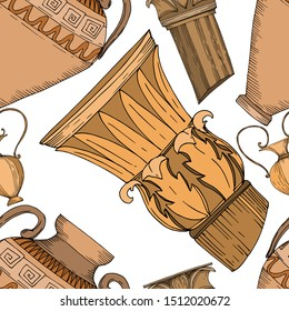Vector Antique greek amphoras and columns. Black and white engraved ink art. Seamless background pattern. Fabric wallpaper print texture on white background.