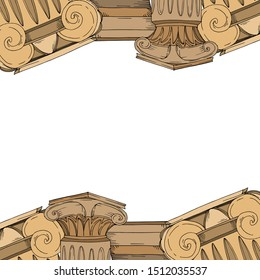 Vector Antique greek amphoras and columns. Black and white engraved ink art. Frame border ornament square on white background.