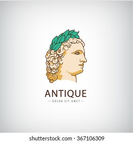 Vector antique greek head logo, icon isolated. Ancient sculpture, educational, law, historical logo. Olympic games