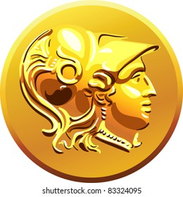 vector antique Greek money, gold shiny old coin with the image of Alexander the Great in the helmet